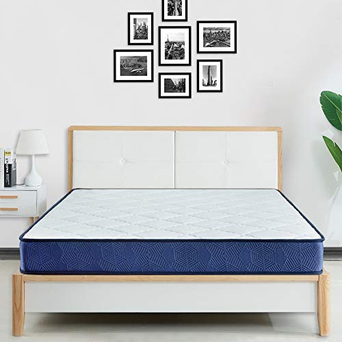 BedStory Double Mattress, 4FT6 Bonnell Sprung Hybrid Mattresses with Breathable Comfort Fabric Cover, Medium Firm Double Bed Mattress in a Box, Fire Resistant/OEKO-TEX Certified - 135 x 190 x 14 cm