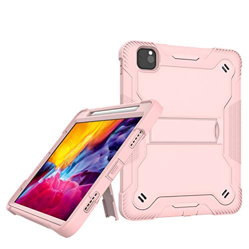 Grifobes iPad Pro 11 inch Case 2020 & 2018,Support Apple Pencil Charging with Pencil Holder,Slim Heavy Duty Shockproof Dual Layer Full Body Rugged Protective Case (Rose Gold)