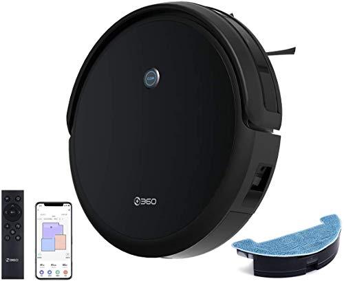 360 C50 Saugroboter Nass & Trocken (Smarter Wassertank, Fernbedienung, 2600mAh, App, 2600Pa Saugleistung, Ultra-Dünn, HEPA-Filter)