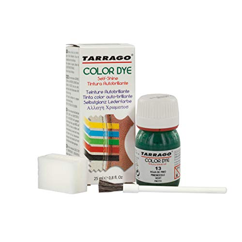 Tarrago | Self Shine Color Dye 25 ml | Tinte Para Cuero y Lona Acabado Brillante Para Teñir Zapatos y Accesorios | Tintura de Secado Rápido Para Reparar el Calzado | Anti Rozaduras (Hoja de Pino 13)