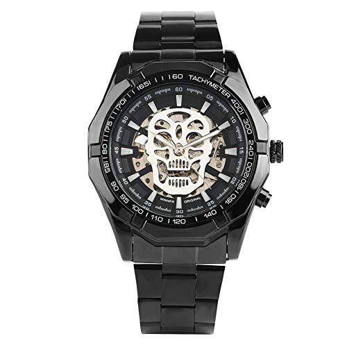 Herren-Armbanduhr, analog, automatisch, mechanisch, Edelstahl, Totenkopf-Design, selbstaufziehend, Geschenk für Männer