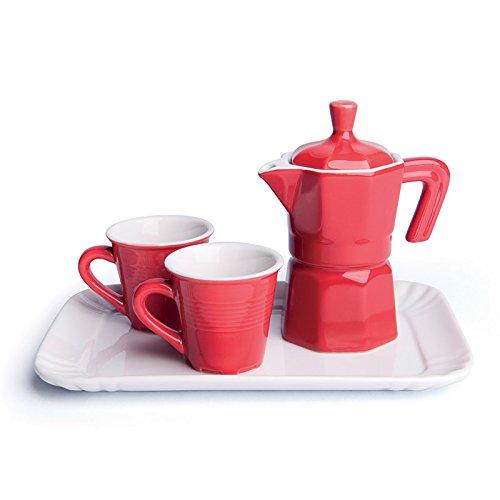 Excelsa 2 Tazze Caffè con Lattiera e Vassoio, Ceramica, Rosso