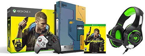 Xbox One X Cyberpunk 2077 Limited Edition Bundle (1TB)&Cosmic Byte GS410 Headphones with Mic and for PS4, Xbox One, Laptop, PC, iPhone and Android Phones (Black/Green)