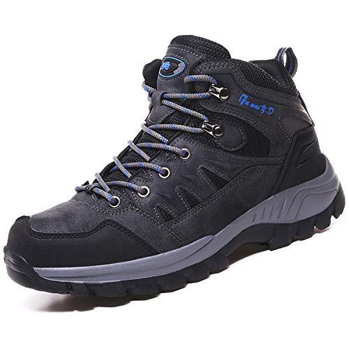 Topwolve Zapatillas de Senderismo para Hombre Zapatillas de Trekking Botas de Montaña Antideslizantes Al Aire Libre Zapatos de Deporte,Gris,42 EU