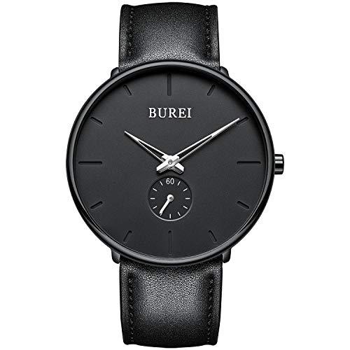 BUREI Reloj de Hombres Minimalista Ultra Delgado Negro Analógico Cuarzo Relojes de Pulsera para Hombres Mujeres