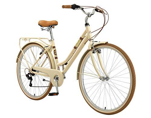 BIKESTAR Bici da Città Citybike in Alluminio 28' | 7 velocità Shimano Bici Retro Vintage Donna | Beige