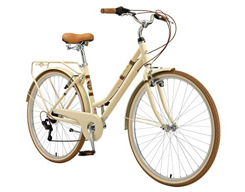 BIKESTAR Alu City Stadt Fahrrad 28 Zoll | 18 Zoll Rahmen, 7 Gang Shimano Damen Rad, Hollandrad Retro Bike mit V-Bremse und Gepäckträger | Beige | Risikofrei Testen