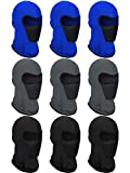 SATINIOR 9 Pieces Summer Balaclava Face Cover Breathable Sun Dust Protection Neck Gaiter Scarf Full Face Cover for Outdoor Activities (Black, Gray, Navy Blue), Medium