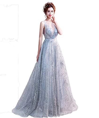 GL SUIT Brautkleid Damen Deep V-Ausschnitt-Spitze-Kleid-Abschluss Bridesmaid wulstiges Kleid ärmellos Reißverschluss Tulle Abend-Cocktail-Lange Maxi Partykleider,Grau,EU:46/UK:20