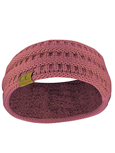 C.C Soft Stretch Winter Warm Cable Knit Fuzzy Lined Ear Warmer Headband, Mauve Ribbed