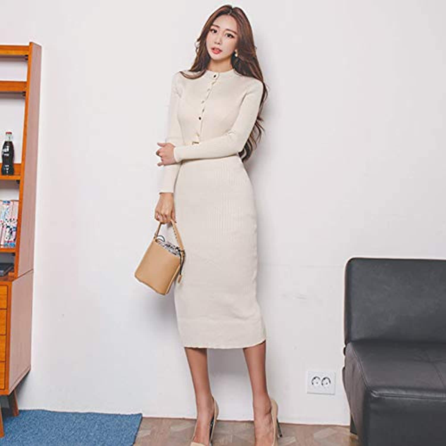 Cxlyq Dresses Elegant Single Breasted Women Sweater Dress ONeck Full Sleeve Sashes Stretch Vestidos Female KneeLength Knitted Dress
