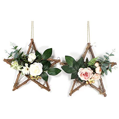 .a 2PCS Artificial Rose Garland, Wreath Hanging Hoop Fake Silk Leaves Star Base Vine Wedding Wall Decor
