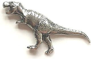 Emblems-Gifts T-Rex Preistorico Dinosauro Distintivo Spilla Peltro + 59mm Bottone Distintivo