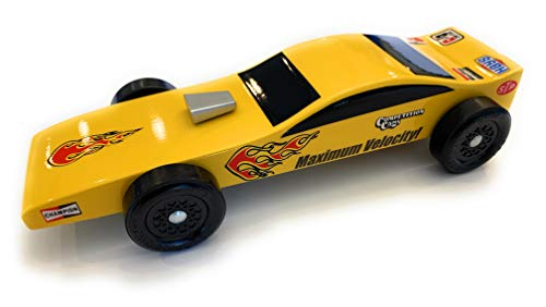 Maximum Velocity Pinewood Car Kit | Includes BSA Speed Wheels, Speed Axles, Graphite & Steel Weight | Funny Car Derby Car Kit