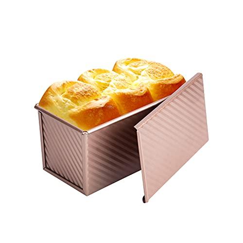 Bulaned Molde Para pan con Tapa, Molde Para Hornear Antiadherente para pan, Molde para Tostar pan de Acero al Carbono Duradero con Tapa, Molde para Hornear pan