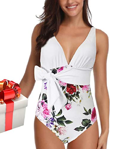 heekpek Donna Costumi da Bagno Interi Bikini Sexy V Profonda Bikini Brasiliana Flower Print Wire Free Costume Mare da Donna Intero Push up Vintage