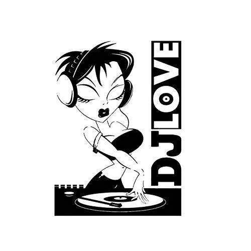 A/X 10.7 * 14.6CM Sexy Hot DJ Love Girl Decal Black/Silver Popular Style Silhouttte Design Car Sticker Vinyl C20-1122 Black