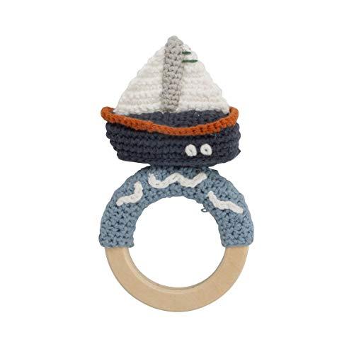 Sebra Crochet Rattle, Boat on Ring, Ocean Dive Navy