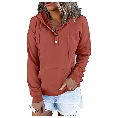 Briskorry Sudadera con capucha para mujer, de gran tamaño, monocolor, básica, con botones, con bolsillo, suave cordón, jersey holgado, manga larga, sudadera con capucha, naranja, XXXL