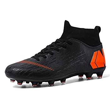 LIAOCX Men's Football Boots Cleats High-top Sock Ankle Care Performance Soccer Shoes Boys Athletic Sneaker Shoes for Outdoor/Indoor/Competition/Training Black