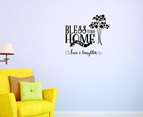Motif Vinyle Avec 2 recharges de 2045 2 Hot nouveaux autocollants Bless cette maison avec Amour et rire Art mural Taille : 40,6 x 61 cm Couleur, 40,6 x 61 cm, Noir