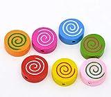 Sadingo - Perlas redondas de madera con diseño de espiral, 10 unidades, 18 x 16 mm