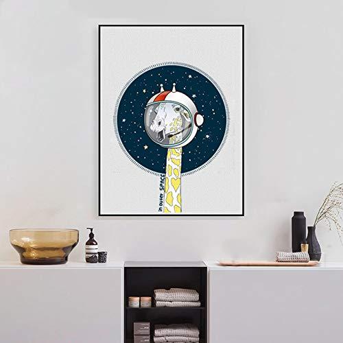 zgwxp77 Giraffe im Weltraum Leinwand Kunstdruck Poster