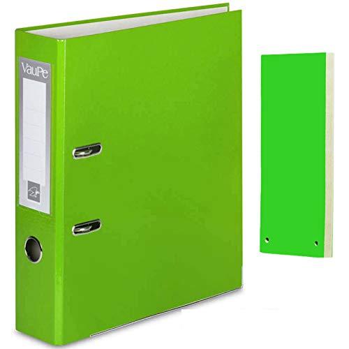 Carpeta archivadora de anillas con palanca de color verde claro, tamaño A4, 5 paquetes de separadores de objetos de color verde claro