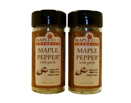 Maple Run Emporium Maple Pepper® with Garlic 2 Pack - Dry Seasoning Blend with Sea Salt - Spice Pasta or Chili Sauce - Sprinkle on Bread - Grill Rub Chicken or Shrimp - Make Spicy Spread or Aioli Dip