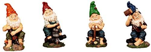 4 Lustige Gartenzwerge Gnome 22cm NEU Gartenzwerg NEU - 2
