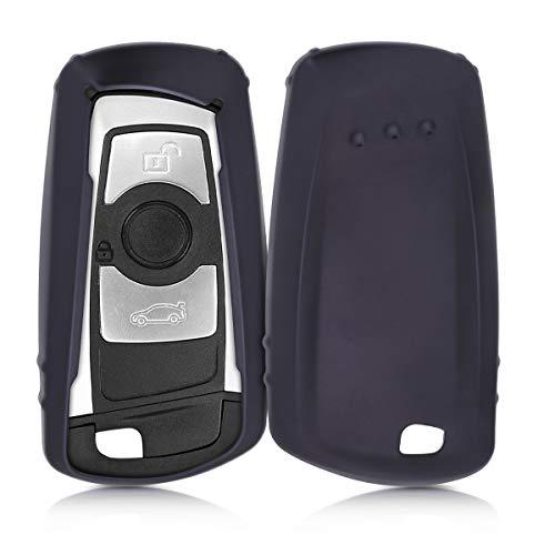 kwmobile Accessoire Clé de Voiture Compatible avec BMW (Keyless Go Uniquement) 3-Bouton - Coque de Protection en Silicone - Noir Mat
