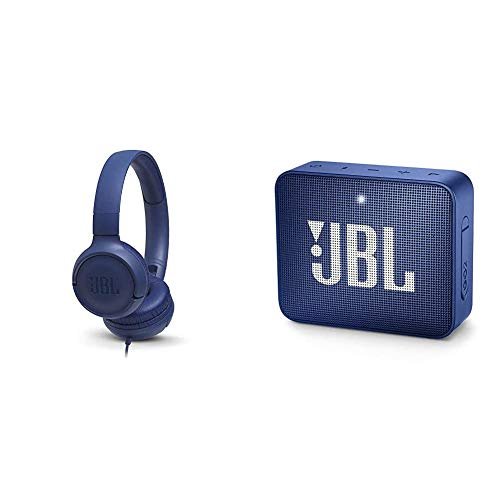 JBL Tune500 On-Ear Kopfhörer mit Kabel - Ohrhörer mit 1-Tasten-Fernbedienung & GO 2 kleine Musikbox in Blau – Wasserfester, portabler Bluetooth-Lautsprecher mit Freisprechfunktion