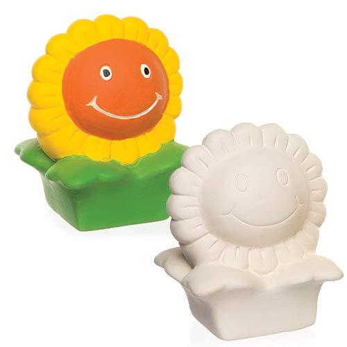 Baker Ross Huchas de cerámica en Forma de Girasol Que los niños Pueden Decorar - Juego de Manualidades Infantiles con Porcelana (Pack de 2)