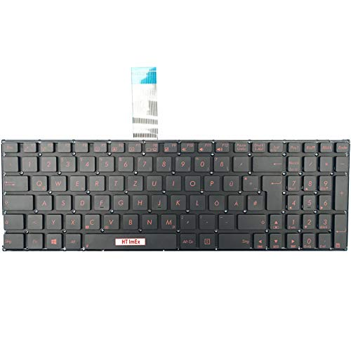 Tastatur - Farbe: Schwarz - ohne Rahmen Deutsches Tastaturlayout Rotes Drucken Version kompatibel für Asus F501 F501A F501U F550LN F550V F751 F751L F550JD F550JK F550LAV, F750LN