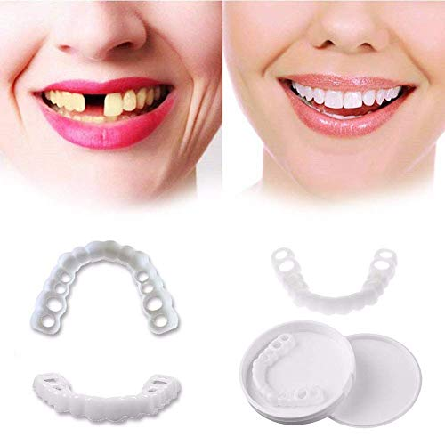 ZNXY 4 Pairs Top and Bottom Denture Fake Teeth Veneer Dental,Veneers Snap in Teeth,Cosmetic Tooth Replacement Kit for Real Teeth, Top Only One Size Fits Most