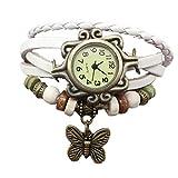 Sannysis Uhr Armband Leder Armbänder für Damen Frauen Vintage Schmuck Wickelarmband mit Armbanduhr Quarzuhr Casual Bracelet Watch (White)