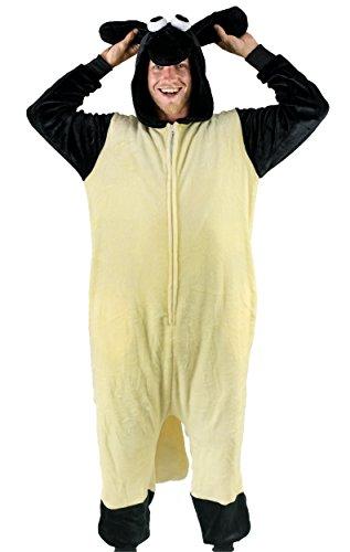 Schlafanzug für Erwachsene, Schlafanzug, mit Reißverschluss und Taschen - Beige - Small