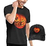 AYYUCY Herren Kurzarmshirt Halloween Horror Men's T-Shirt and Hats for Teenager Black