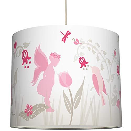 anna wand Hängelampe Lovely Fairies ROSA/Taupe – Lampenschirm für Kinder/Baby Lampe mit Feen und Elfen – Sanftes Kinderzimmer Licht Mädchen & Junge – ø 40 x 34 cm