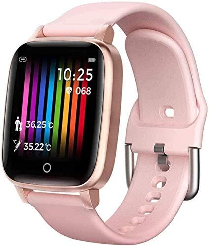 Relojes inteligentes con monitor de sueño cronómetro, podómetro, monitor de ritmo cardíaco, reloj inteligente para hombres y mujeres, compatible con Android e Ios impermeable Sportwatch Pink-A