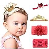 Little Beauty - Set di fasce per capelli con corona, per bambina, con fiocco da 3 mesi a 2 anni Doré-Rouge Taglia unica