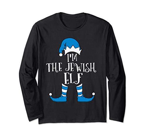 Jewish Elf Hat Funny Hanukkah Gift Jewish Chanukah PJ Long Sleeve T-Shirt