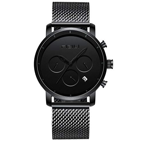FIZILI Men Watches Chrono Minimalist | 10 Series 42 MM Wrsit Watch for Men | Analog & Date Black