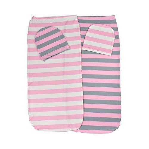 YWXJY nouveau-né Cocoon Swaddle Wrap Blanket Quilt Sac de couchage garçon fille, sac Cocoon avec chapeau, photographie de nouveau-né, emmailloter Dos, 0-3M, 2 Packs, A