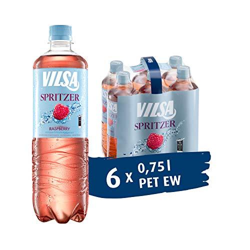 VILSA Spritzer Raspberry, 6er Pack Mineralwasser mit einem Spritzer Himbeere, natürlicher Kohlensäure, kalorienarm, in Einwegflaschen (6 x 0,75 l PET)