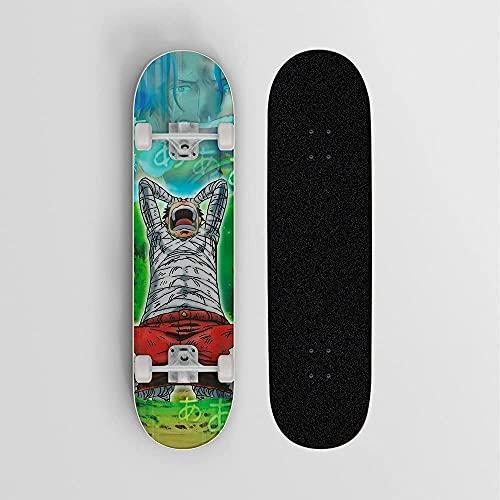 Anime Skateboard para una Pieza Monkey D. Luffy Llory Mini Cruiser- Doble Kick Skateboards 7 Capa Maple Deck Trick Doble Kick Concave Patinetas para niñas Niños Niños Adolescentes Adultos