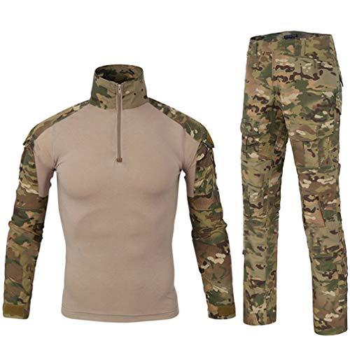 LANBAOSI Chemise de Combat Militaire Homme Uniforme Tactique Séchage Rapide à Manches Longues & Pantalon Costume Tenues de Combat Pantalon Militaire Paintball MC Large
