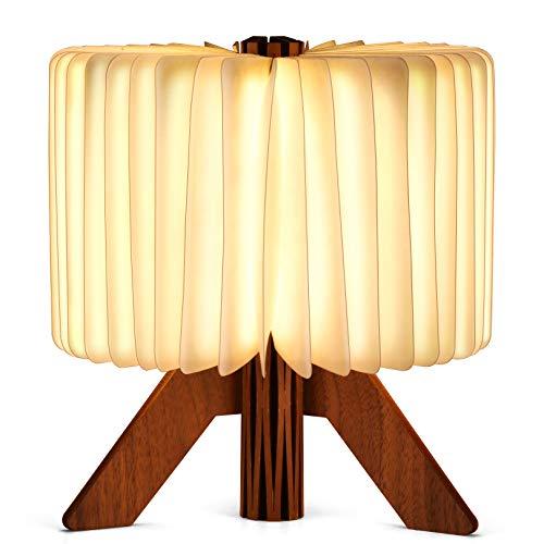 USB Wiederaufladbare LED-Holzklappbuch Buchförmige Licht Schreibtisch Nachtlampe, LED-Lampe Buch Licht Atmosphäre 2 Farben, Buch beleuchtet Holz Nachttischlampe Schnurlose 360 ° Faltung