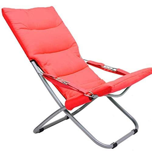 OLDJTK Tumbona, sillas Plegables Sillas Plegables de Gravedad Cero Tumbona reclinable para la Playa Patio Jardín Acampar al Aire Libre (Color : Red, Size : 44 * 63 * 79cm)