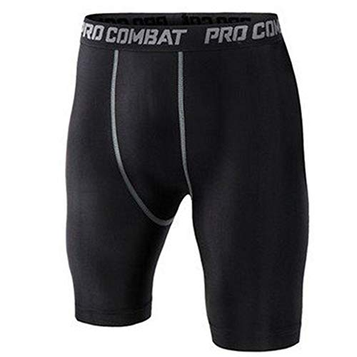 Enticerowts Leggings de compression pour homme à séchage rapide M Noir court #